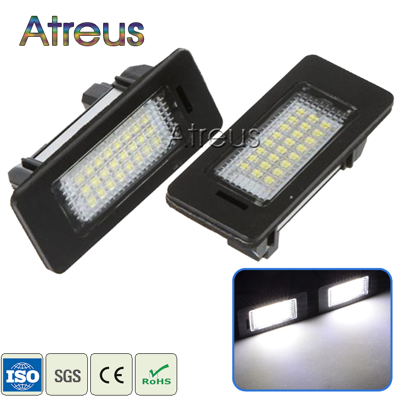 Atreus Car LED License Plate Light For BMW E39 E60 M5 E90 E82 E88 E92 E93 E70 X5 E71 E72 X6 No error white SMD Lamp Bulb kit 12V 2 x led number license plate lamps obc error free 24 led for bmw e39 e80 e82 e90 e91 e92 e60 e61 e70 e71