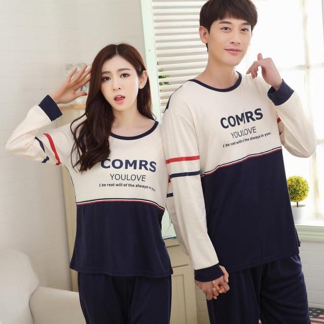 New Men Pajamas Set Pijamas Hombre 2016 Autumn Spring Couples Cotton Male Pajama Plus Size Casual Sleepwear O-neck Suit At Home