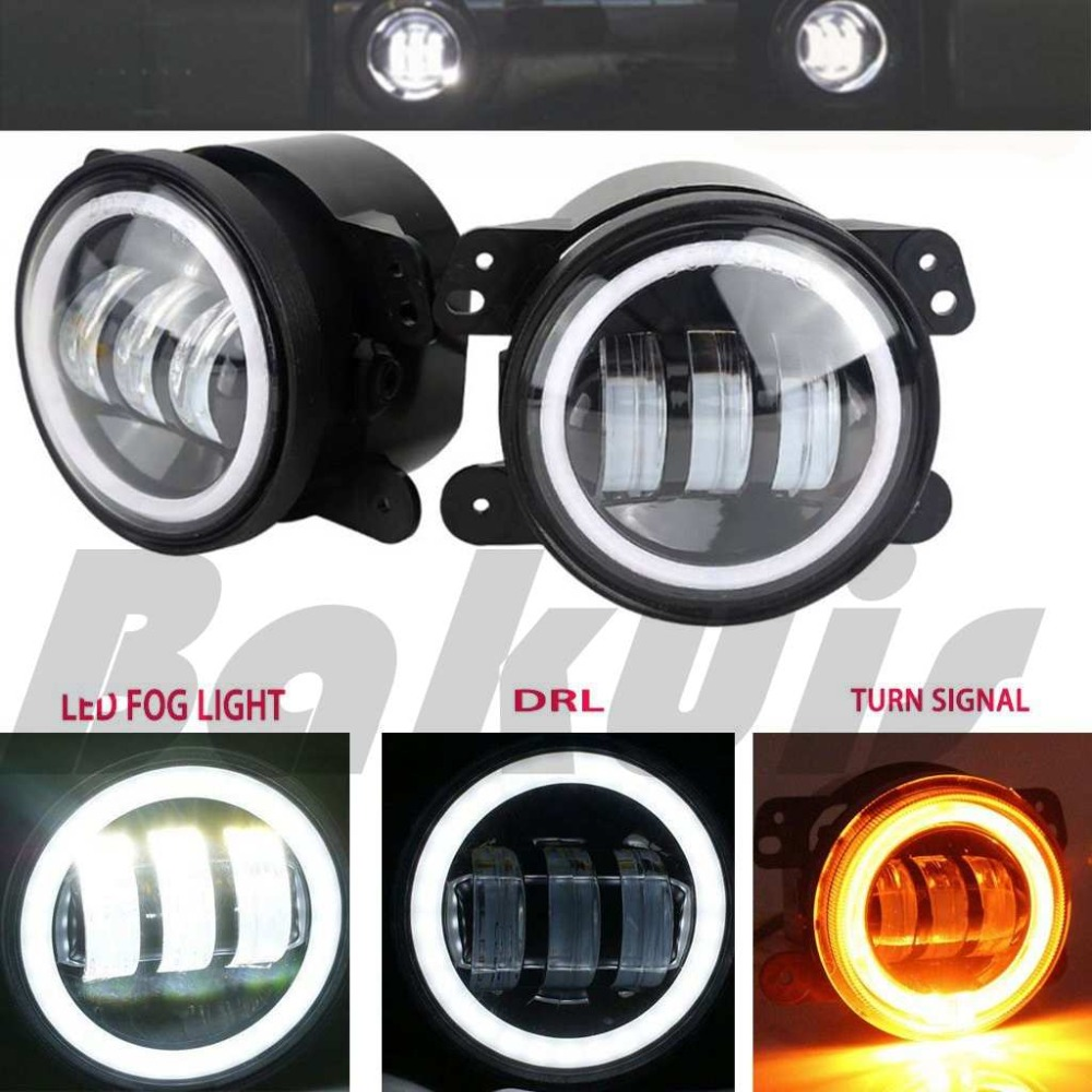30W 4 Inch Round  Led Fog Light White Halo Ring Angel Eyes & White Lamp DRL Bulb Angle Eyes for Jeep Wrangler JK LJ TJ