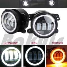 30 Вт 4 дюймов круглый светодиодный фонарь Белый Halo Кольцо ангельские глазки и белая лампа DRL лампы угол глаза для Jeep Wrangler JK LJ TJ
