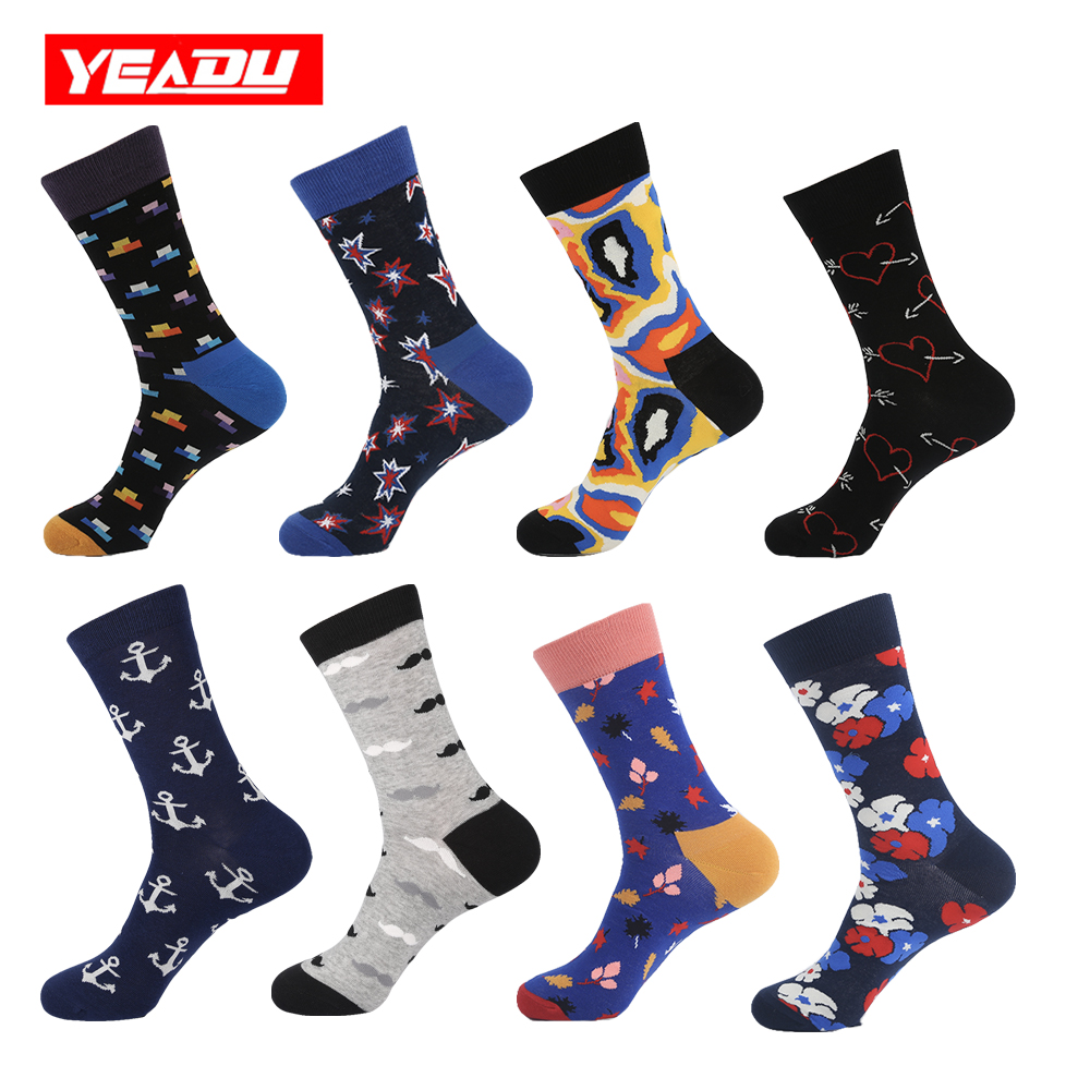 YEADU 24 Colors Men's Colorful Combed Cotton Socks Harajuku Skateboard Soft Casual Crew Dress Wedding Party Sock for Men