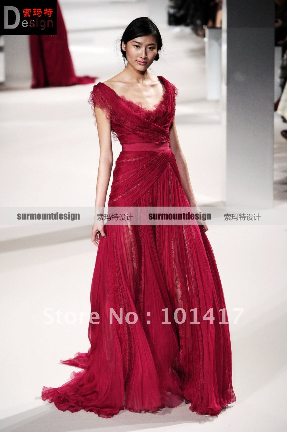 Beautiful custom made flowing chiffon red elie saab evening dress-in ...