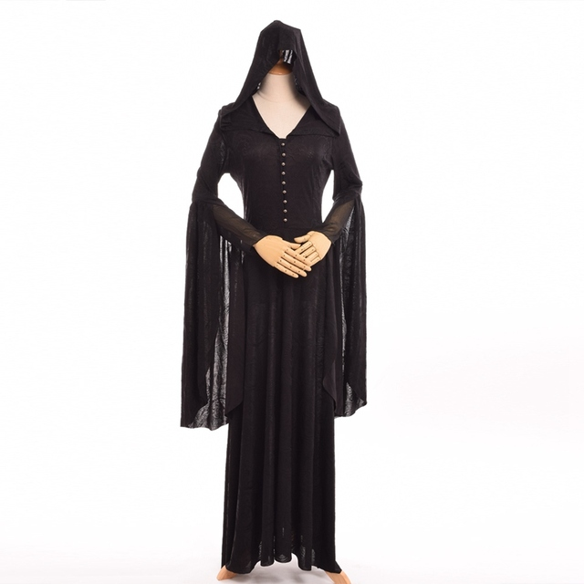 Dress Women Vimpire Black Long Steampunk Hooded Dresses