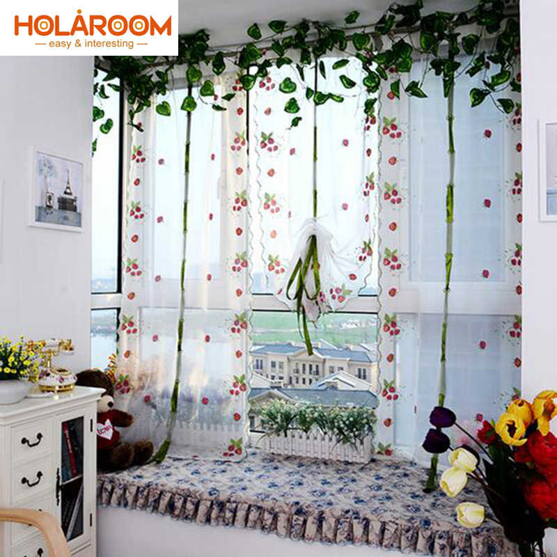 Pastoral Strawberry Embroidery Curtain Veil Rooftop Pastoral Curtain for Living Room Kitchen Window door cortina