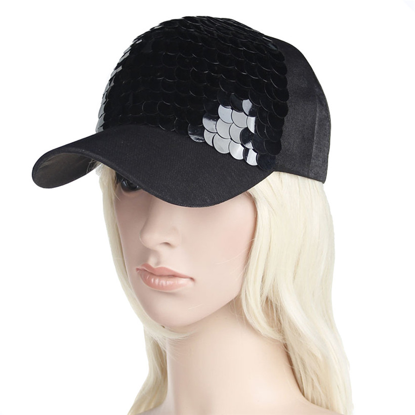 Women Men Baseball Tennis Cap Adjustable Shiny Sequins Gorra Tenis Outdoor Sports Sunshade Ponytail Cap Dropshippping 0905