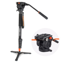 Free Shipping Coman Photography Tripod Aluminum Monopod Fluid Video Head with Three feet Support Stand for Nikon Canon DSLR