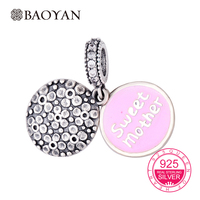 BAOYAN 925 Sterling Silver Pink Enamel Sweet Mother Dangle Charms Fit Bracelet DIY Jewelry Best Gift for Mother's Day N2