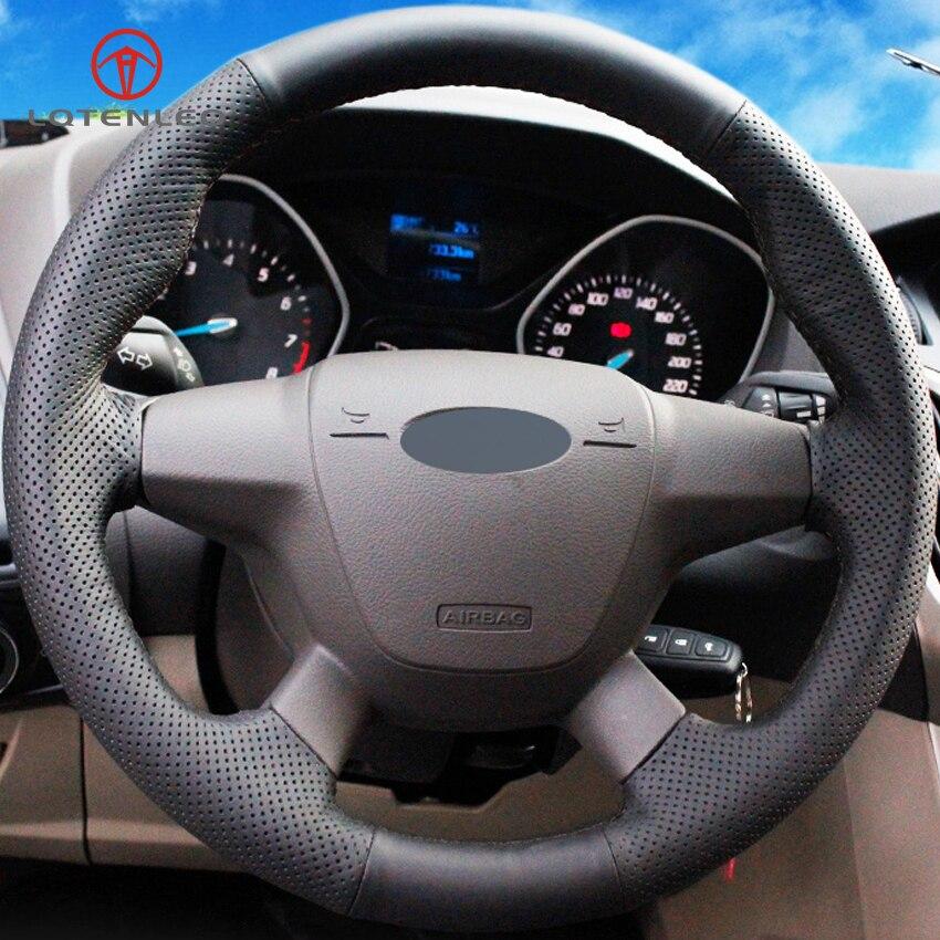 LQTENLEO черная искусственная кожа чехол на руль для Ford Focus 3 2011- KUGA Escape 2013- C-MAX 2011- Transit