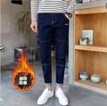 2017 pantalones de Mezclilla Hombres Pantalones de Lana de Abrigo Hombres Skinny Jeans Hombre Slim Fit Jean Femme Negro Azul Tamaño 28-36