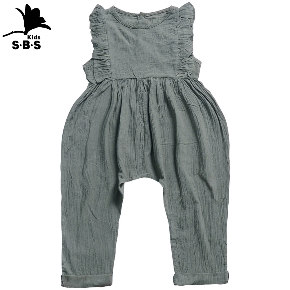 Summer and Autumn Children's Wear  Girls' Small Sleeved Rompers Cotton Pure Color Strap Jumpsuit for 6months Baby Girls Newborn