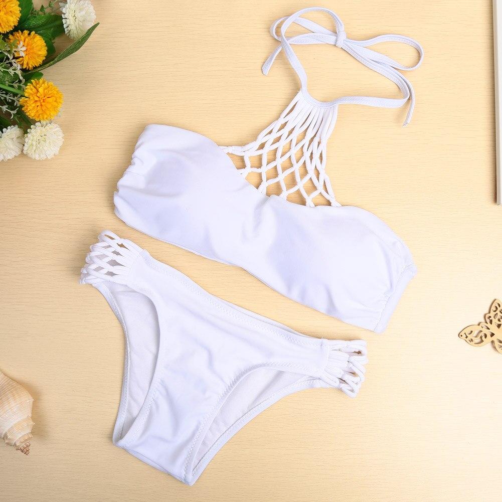 New Outdoor Sexy Women Bikini Set Swimwear Halter Criss Cross Push Up Swimsuit White/Black 2017 Spring Summer Beach Style 3