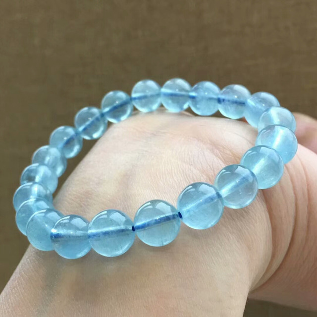 9mm Genuine Natural Blue Aquamarine Bracelet Stretch Clear Round Beads Crystal Healing Stone Aaaaaa