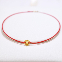 18K Gold Tail Buckle Bracelet 24K Gold Circle Hand-woven Red Rope Bracelet Anklet - wrist Circumference 13-23cm Custom Gift