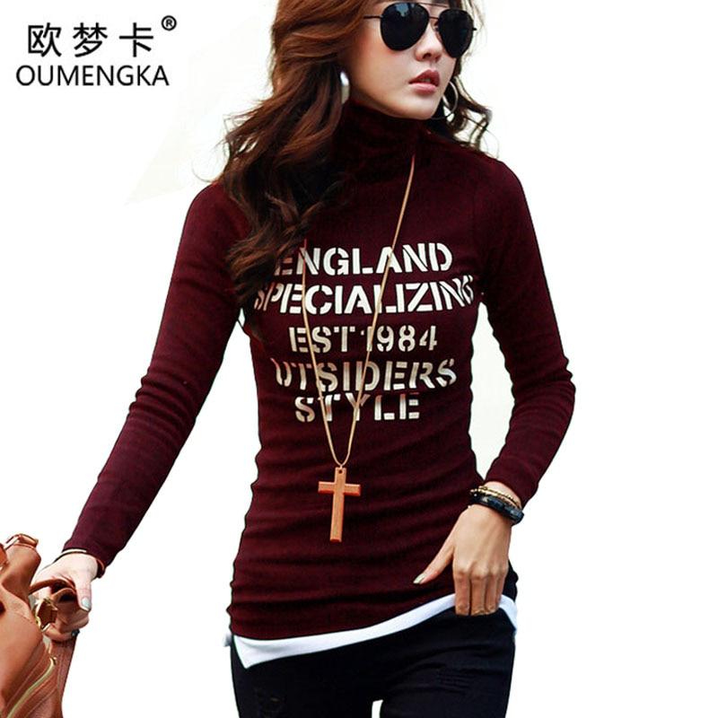 New 2016 Autumn Winter Warm Tops T Shirt Women Long Sleeve Turtleneck T Shirt Female Tshirt