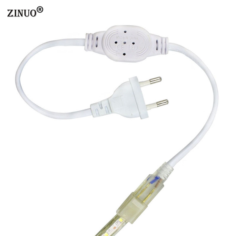 ZINUO 220V Led Strip Light EU Power Adapter Plug For Flexible Led Tape Ribbon Light 2835 5050 3014 zinuo 1pc dc power jack splitter adapter connector cable 1 dc female to 2 3 4 5 6 male plug for cctv camera led strip light