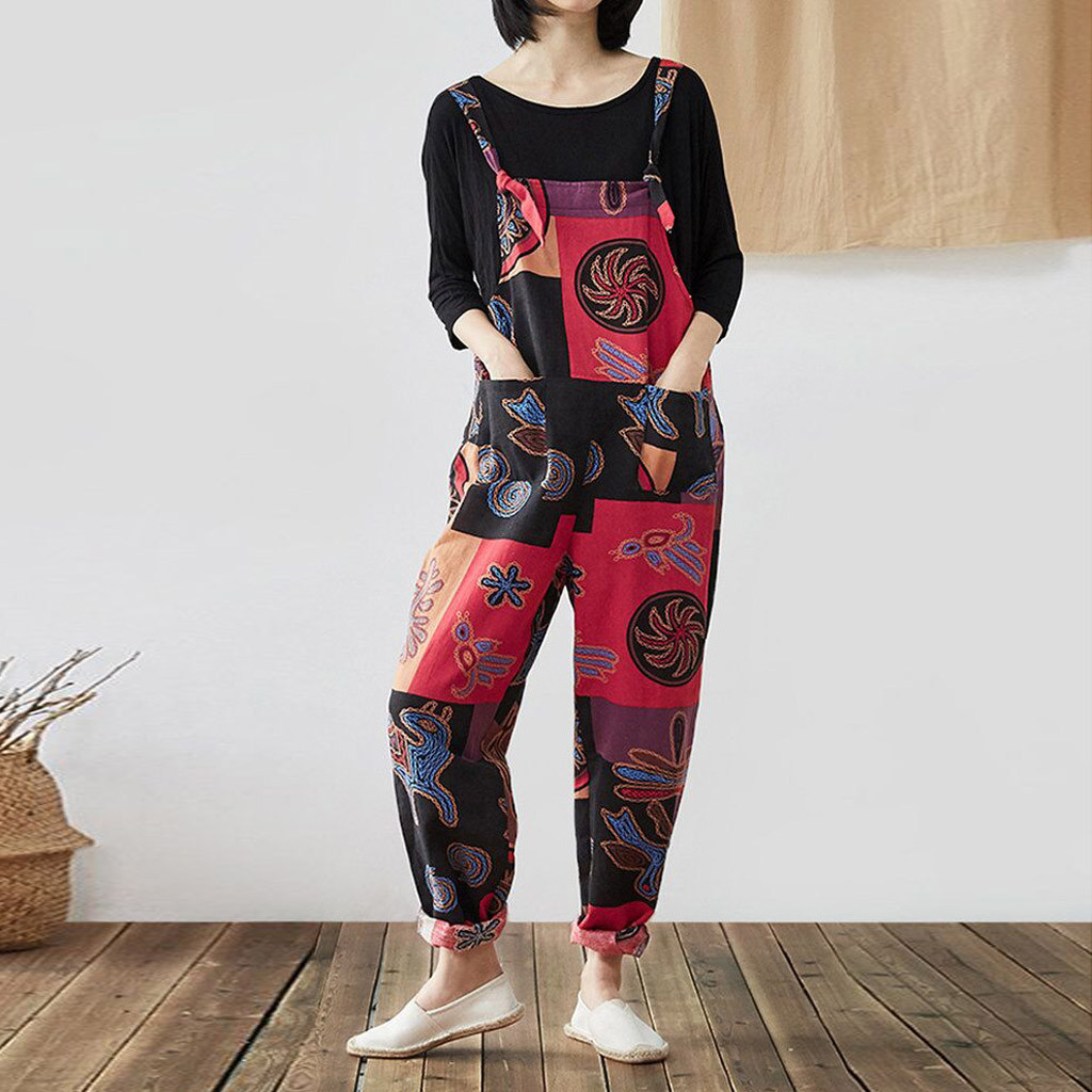 Women Casual Bohemian Jumpsuit Printing Spaghetti Strap Sleeveless Square Neck Pockets Mono Largo Mujer Jumpsuits Elegant
