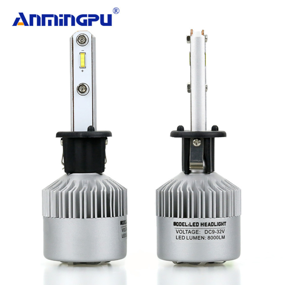 ANMINGPU 2Pcs H1 LED Headlight Bulbs Super Bright 16000LM/Set High Power 12V 72W 6000K Car Light Auto LED H1 Fog Light Auto Lamp autofeel h16 5202 single low beam cob led car headlight bulbs kit 72w 16000lm 6000k natural light auto front fog headlamp lamp