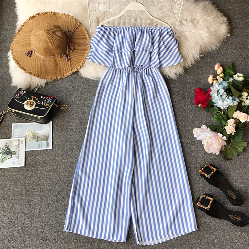 Boho 2020 Ruffles Sexy Off Shoulder Striped Print Long Jumpsuit Casual Women Playsuit Summer Beach Overalls Holiday Romper