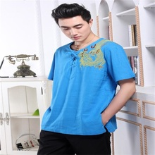 High Quality Blue Tradition Chinese Men's V-Neck Cotton Linen Embroidery Dragon Kung-Fu quick sleeve shirt M L XL XXL XXXL