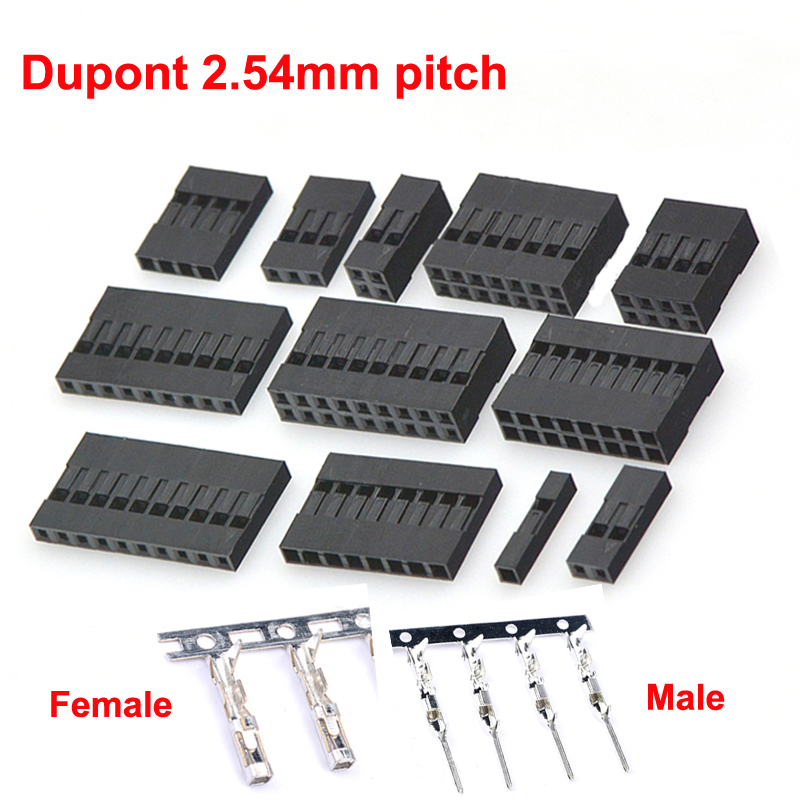 Dupont2.54 Connectors Cable Jumper Wire Connector Header Housing 2.54mm Pitch Shell 1 To 10 Pin Male Female Terminal Available