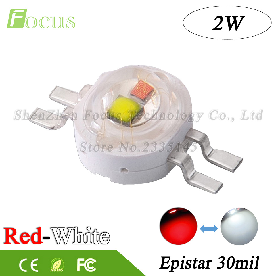 20Pcs High Power LED Double Chip 2W COB White Red 30mil Light Beads Use For DIY Car Aquarium Stage Lights