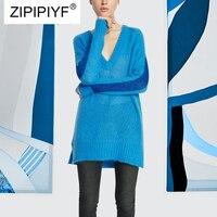 2018 Европа американский ветер компьютер вязаный свитер Для женщин глубокий v образный вырез сплошной Цвет с длинным рукавом Уличная пуловер