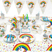 Unicorn Themed Party Disposable Tableware Plate Napkins Banner Birthday Candy Box Baby Shower Decor Party Supplies