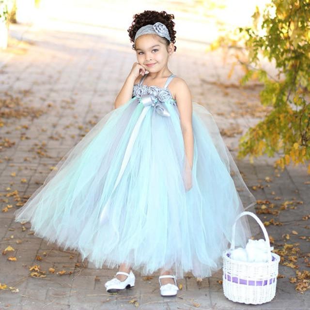 Beach Wedding Mint and Gray Flower Girl Tutu Dress Girl Tulle