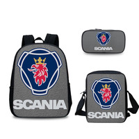 3 PCS/SET Scania Student Backpack For Notebook 3D Printing School Bags For Teenagers Men Fashion Large Capacity School Backpacks