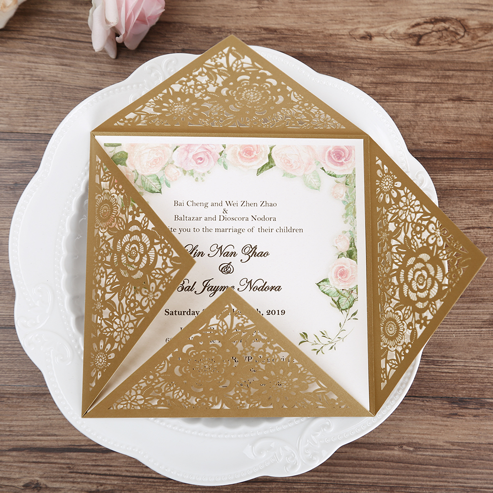 Wedding Invitations With Lace: Aliexpress.com : Buy 50 Pcs Gold Elegant Wedding
