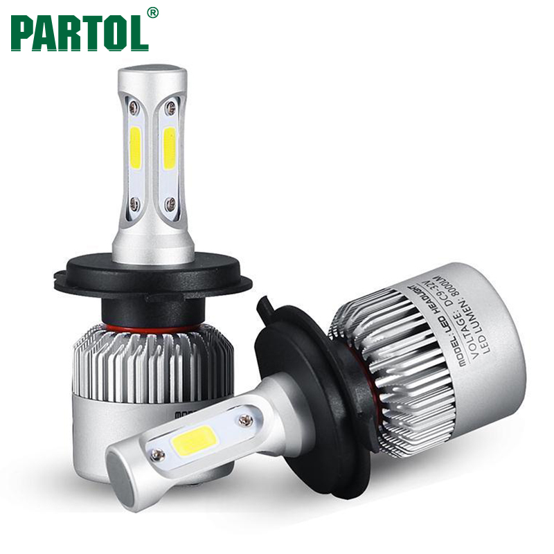 Partol S2 H4 H7 H13 H11 H1 9005 9006 H3 9004 9007 9012 COB LED Headlight 72W 8000LM Car LED Headlights Bulb Fog Light 6500K 12V