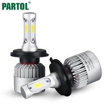 Partol S2 H4 H7 H13 H11 H1 9005 9006 H3 9004 9007 9012 COB светодиодные фары 72 Вт 8000LM автомобиля LED Фары лампы Туман Light 6500 К 12 В