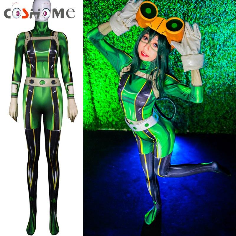 Coshome Boku No My Hero Academia Asui Tsuyu Cosplay Costumes Women Bodysuit For Halloween Party