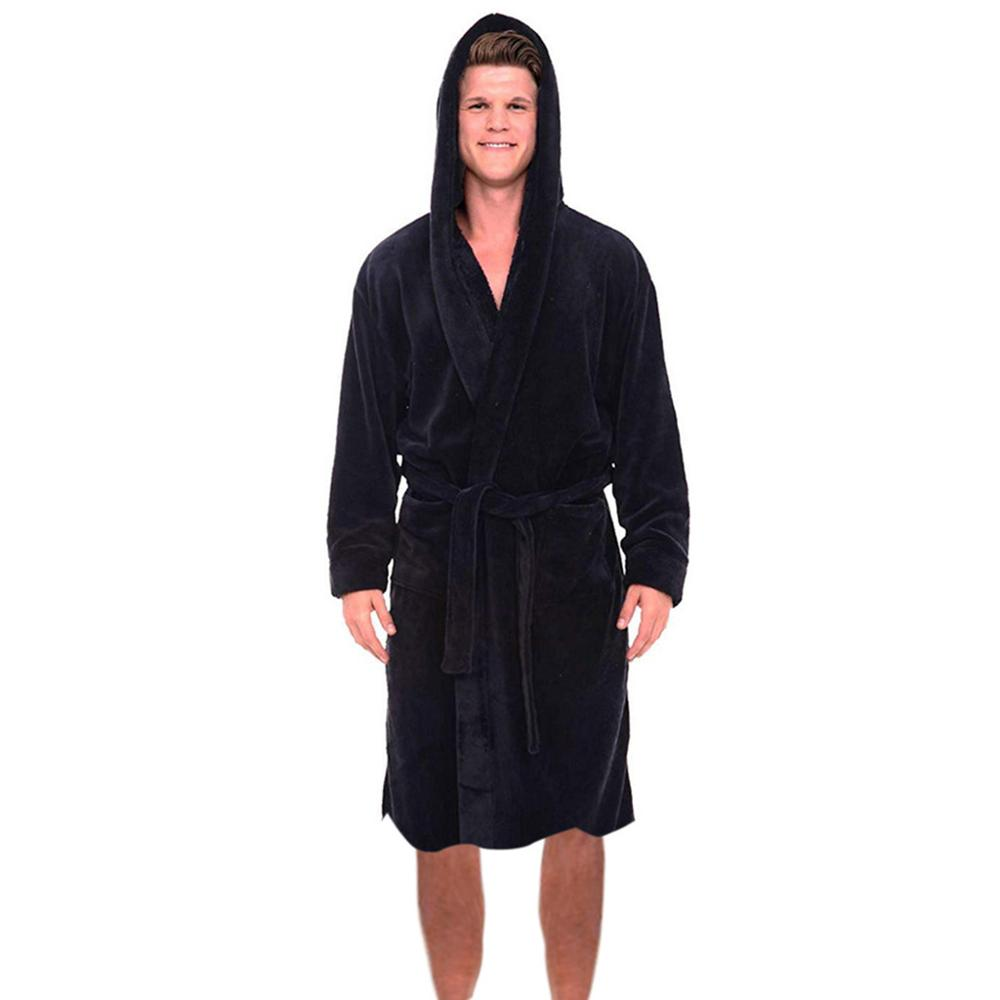 2019 Fashion Casual Men's Sleepwear Winter Plush Lengthened Shawl Bathrobe Home Clothes Long Sleeved Robe Coat Bata Hombre Men