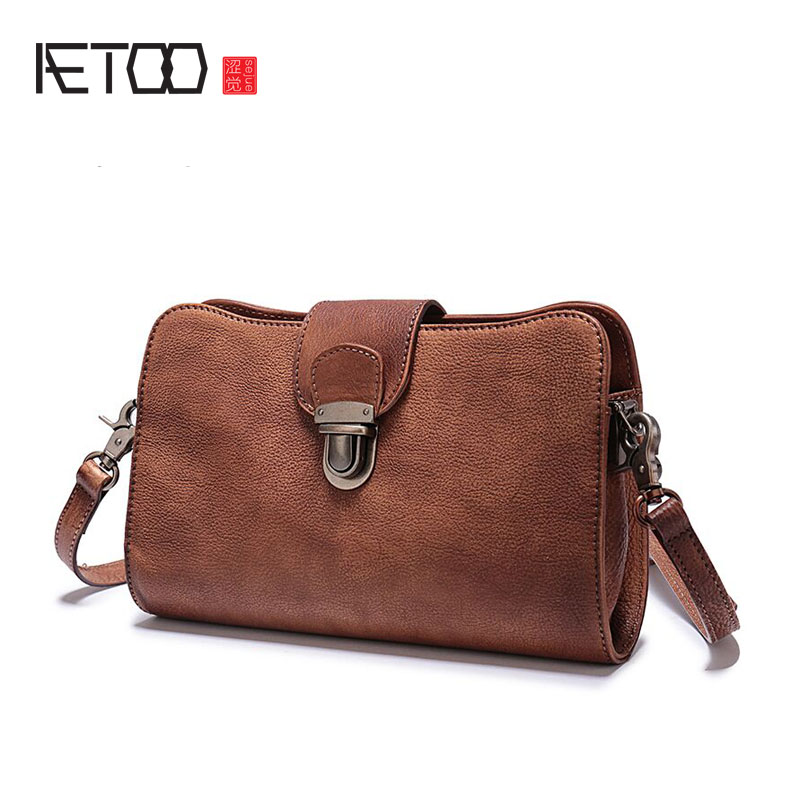 AETOO The first layer of leather small square bag casual of the leather handbags buckle shoulder bag qiaobao 2018 new korean version of the first layer of women s leather packet messenger bag female shoulder diagonal cross bag