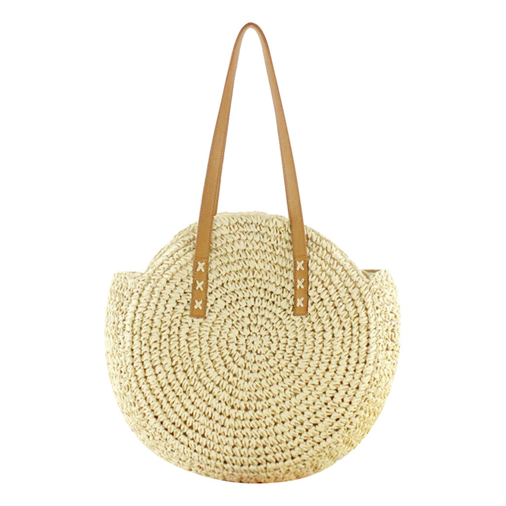 Female Tote Wicker-Bags Beach-Handbag Vacation Bohemian-Straw Round Hand-Woven Casual