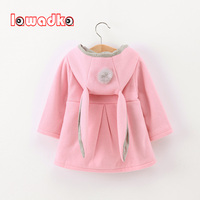 Lawadka Cute Rabbit Ear Hooded Baby Girls Coat New Autumn Tops Kids Warm Jacket Outerwear Coat