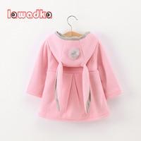 Lawadka Cute Rabbit Ear Hooded Baby Girls Coat New Autumn Tops Kids Warm Jacket Outerwear Coat