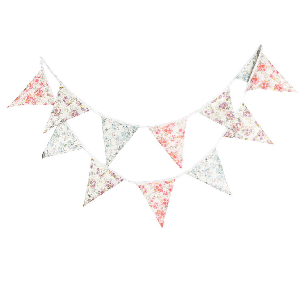 1pcs 3.6M Pastoral Style Vintage Flower Cotton Bunting Banners Outdoor Wedding Party Decoration Retro Pennant Hoom Decor Flags