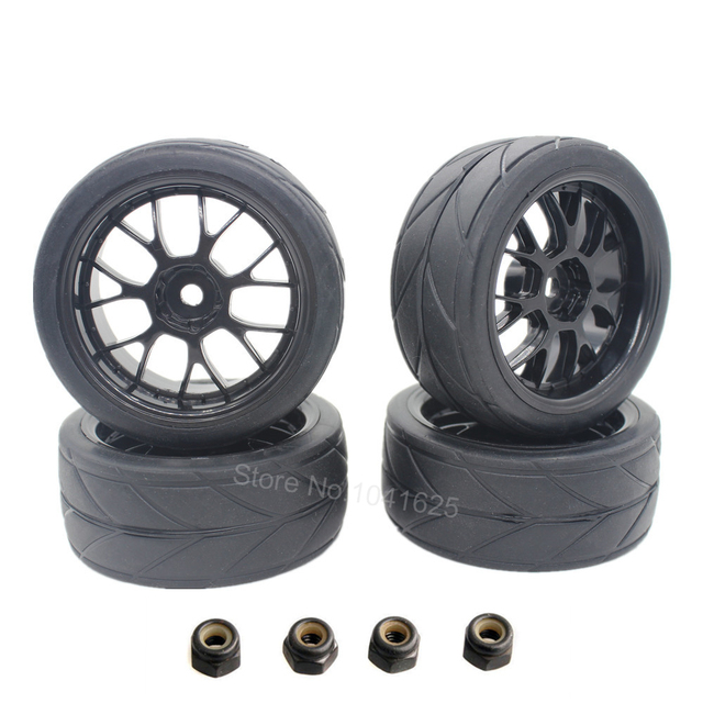 4Pcs RC Tyre & Wheel Rim for 1/10 Scale Nitro Power On Road Car HSP Sonic 94102