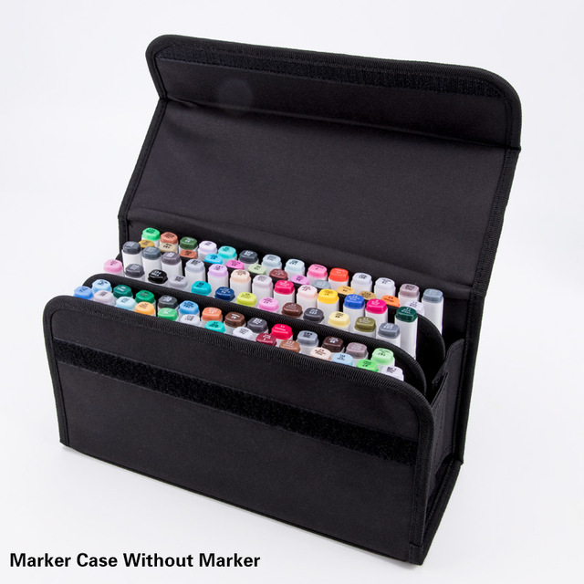 80Holder Large Capacity Folding Marker Pen Case Canvas Art Markers Pen Storage Carrying Bag Durable Sketch Tools Organizer