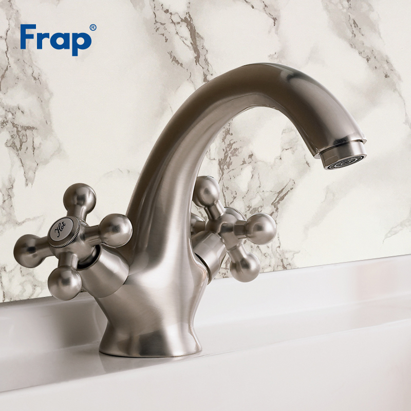 Frap 1 Set Nickel Brushed Deck Mounted Faucets Home Kitchen Bathroom Basin Sink Water Faucet Retro