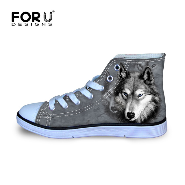 FORUDESIGNS 3D Animal White Wolf Printed Women High Top Canvas Shoes Casual Dog Husky Female Lace Up Vulcanize Shoes Breathable