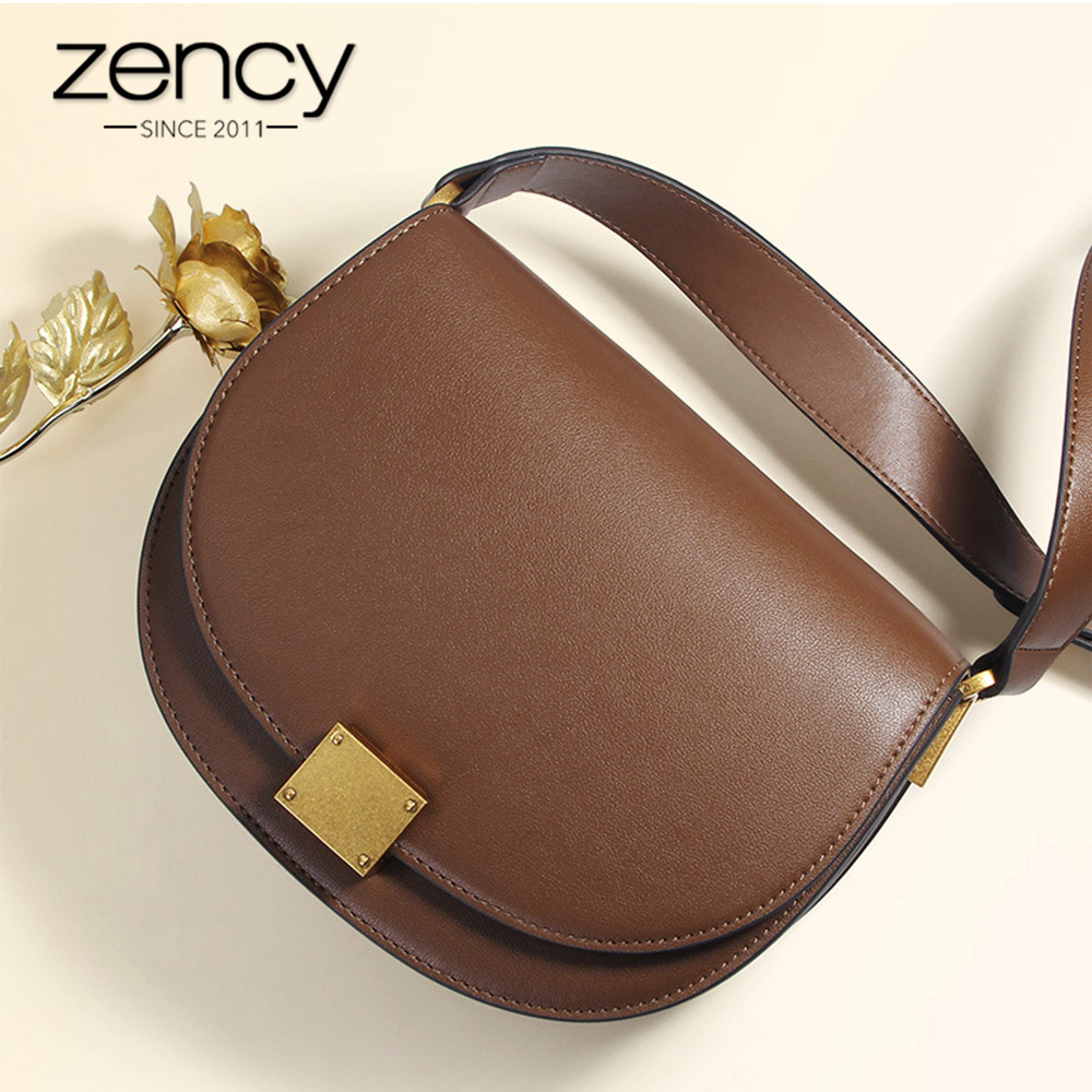 Zency New Fashion Handbag 100 Genuine Leather Retro Women Messenger Bag Horseshoe Buckle Simple Semi circle