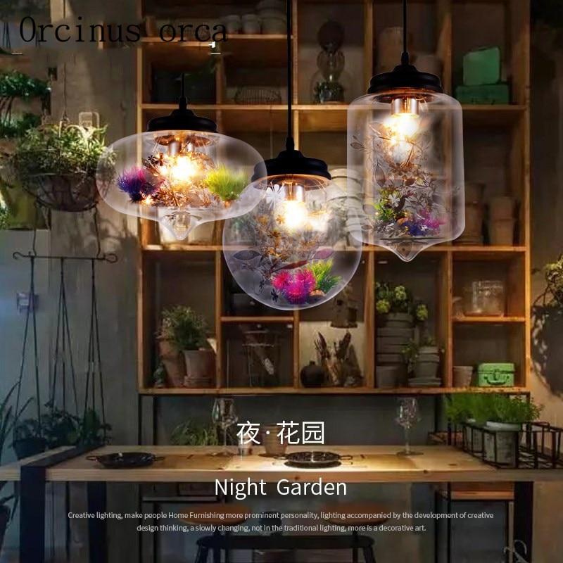 Nordic modern flowers glass chandeliers restaurants bedroom study living room bar creative personality Chandelier