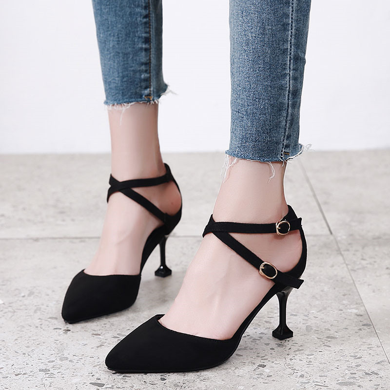 2018 Elegant Women Pumps High Heels Pointed Toe Sexy Women Sandals Flock Leather Shoes For Lady Office Shoes CH B0094 in High Heels from Shoes