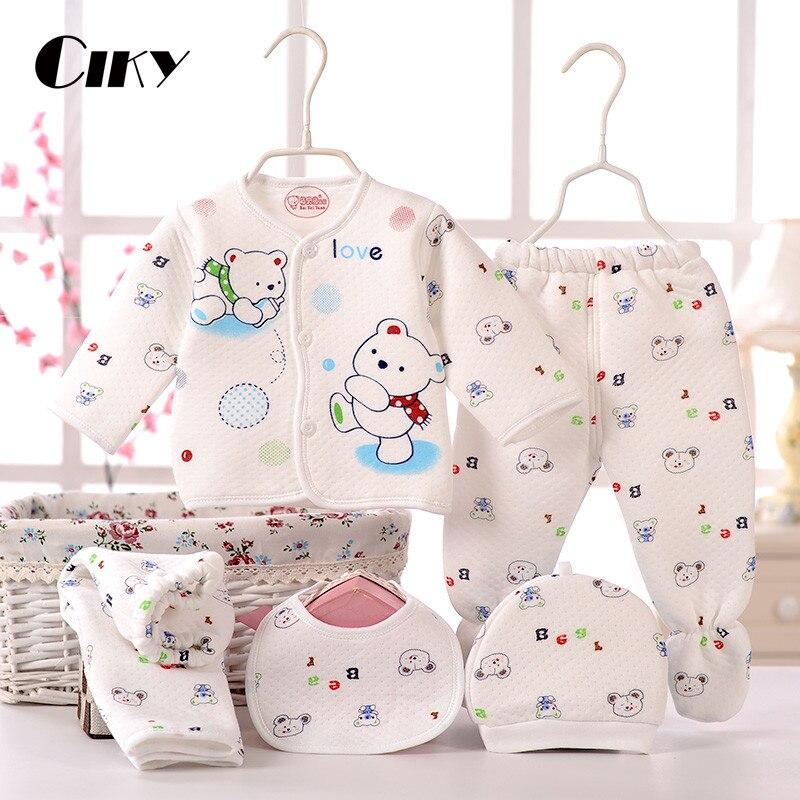(5pcs/set)Newborn Baby 0-6M Boy Girl warm Clothes set 100%Cotton Cartoon winter Underwear baby set hat bibs Hat B-064