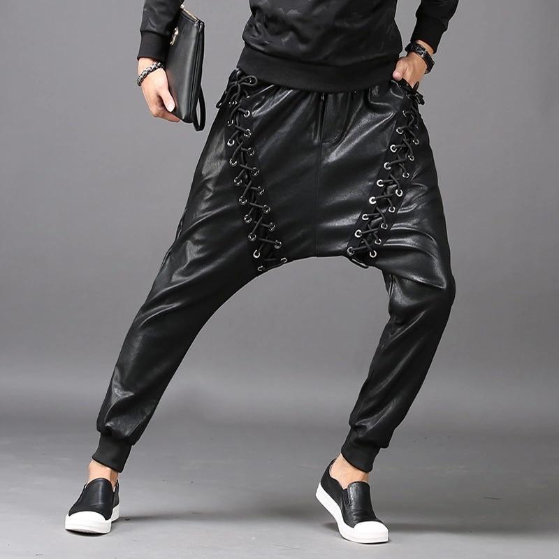 Men Fashion Joggers PU Faux Leather Harem Drop Crotch Pants Jeans Casual Street Dance Moto & Biker DJ Rock Rivets Slacks Trouser