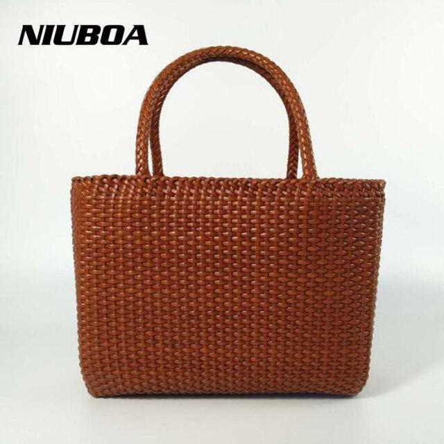 Niuboa Genuine Leather Bag Women Euro Retro Trend Manual Woven Handbags Las Casual Cowhide Messenger Bags