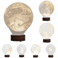 3D criativo LED Night Lights Luz De Carregamento USB Pequena Lâmpada de Mesa luzes Secretária Lâmpada Luminaria Quente Visual 3D